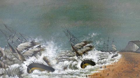 Two Paintings of Shipwrecks